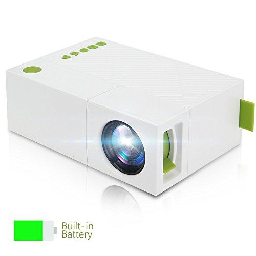 TKSTAR Mini Proyector, portátil LED Mini Mobile Bolsillos proyector con batería USB/AV/HDMI Soporte TV Box Flash Drive Micro SD PC Laptop Consola para Familia película Noche vídeo juyg310 Blanco