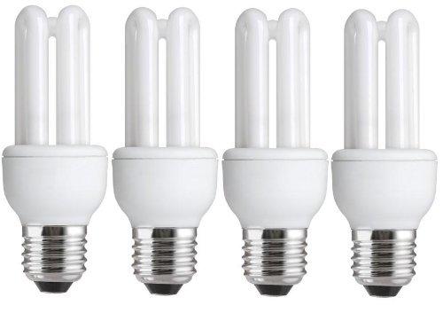 Tesco Lot de 4 ampoules à économie d'énergie à culot Edison E27 ES CFL 620-660 lms Autonomie 10 ans Blanc 11W