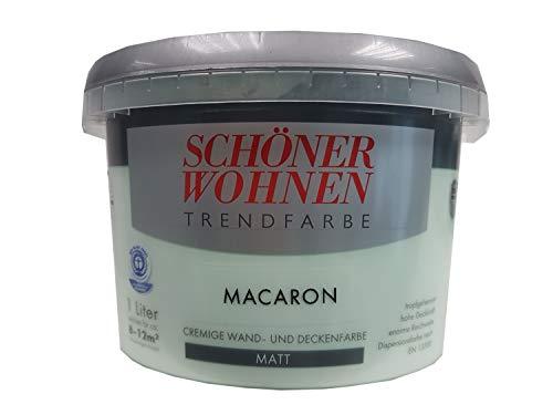 SCHÖNER WOHNEN Trendfarbe cremige wand und Deckenfarbe Matt Farbton wählbar 1 Liter, Farbe:Macaron