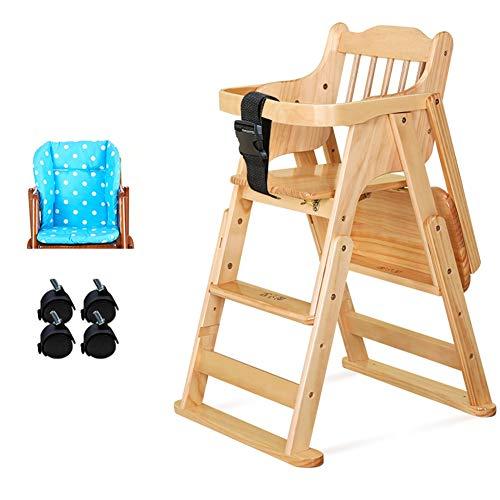 Hochstuhl Baby Esszimmerstuhl Hochstuhl, Mehrzweck Einstellbare Kinder Füttern Kinderstühle Lösung mit 3-Punkt-Gurt, Holz (Color : Wood color 1)