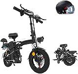 Alta velocidad Folding Mountain bicicleta eléctrica de 48V de la batería extraíble de litio Playa Nieve de bicicletas de 14' bicicletas E-bici eléctrica 350W ciclomotor eléctrico ( Size : 80KM )