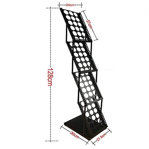 ZQCM Magazine Rekken, Magazine Brochure Folderhouder Poster Stand Verstelbare Display Stand Floor Poster Stand Floor Stand, Zwart, 27,5 x 128cm