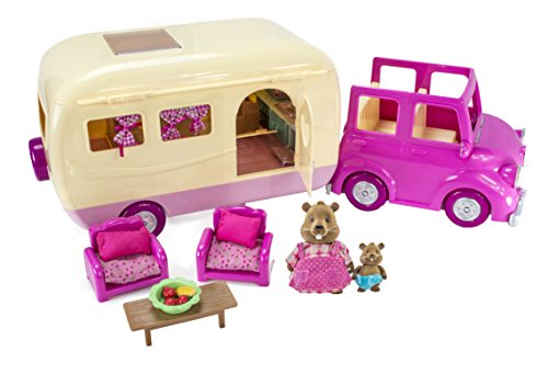 Lil Woodzeez Happy Camper  Pink Toy Car with Family Caravan  40pc Playset with Toy Furniture, Food, and Kitchen Accessories  Gifts for Kids Age 3+