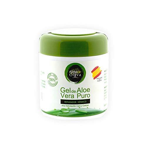 Gel Aloe vera 100% de Canarias crema hidratante natural 500 ml para la piel irritada por el depilado y afeitado/Quemaduras solares y picadura de insectos. Uso Facial y Corporal