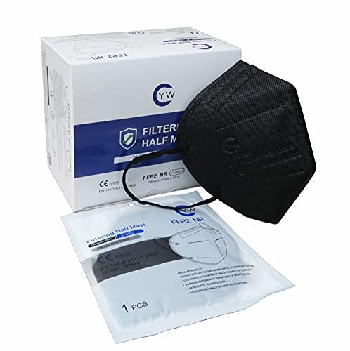 Y-W 20 Pezzi Mascherine FFP2 Certificati CE Alta Densità Filtrazione 5 Strati Sigillate Singolarmente (nero)