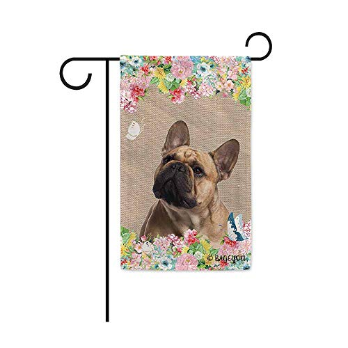 BAGEYOU Hello Spring Flowers with My Love Dog Frenchie Decorative Outdoor Garden Flag Cute Puppy Summer Floral Seasonal Banner 12.5X18 Inch Print Double Sided