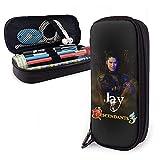 Descendants 3 Jay - Estuche de piel con cremallera para lápices, bolsa de almacenamiento para estudiantes, papelería, suministros escolares, estuche para lápices y monedas