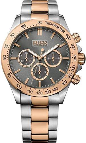 Hugo Boss 1513339caso de acero inoxidable de dos tonos y enlace pulsera, Gunmetal Dial con estampado de índice, cronógrafo de cuarzo movimiento