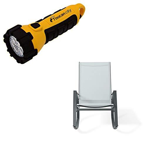 Toucan City LED Flashlight and CASAINC Dark Grey Metal Plastic Outdoor Rocking Chair JYC3001F