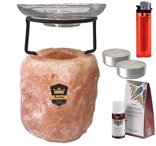 Quemador de Aceites Esenciales | Quemador de Sal Rosa del Himalaya | Tamaño Grande: Aprox. 1,5 Kg | Incluye 2 Velas y Aceite de Palo Santo