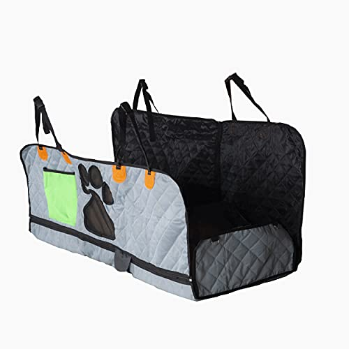 """Ponapoo Dog Car Seat Cover - for Back Seat,4-in-1 Dog Hammock for Cars with Mesh Window (Gray, 54"""" X 58"""")"""