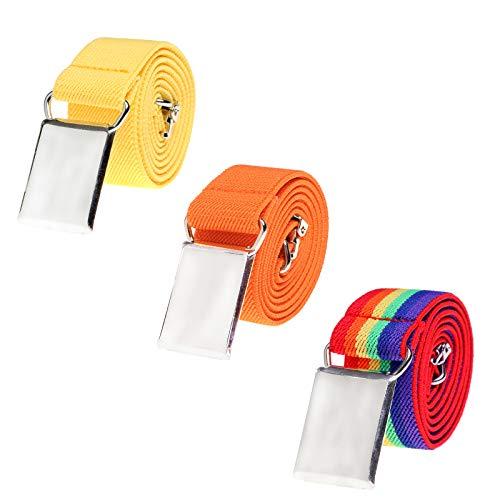Toddler Boy Kids Buckle Belt - Adjustable Elastic Child Silver Buckle Belts, 3 Pieces (Yellow/Orange/Rainbow stripe)