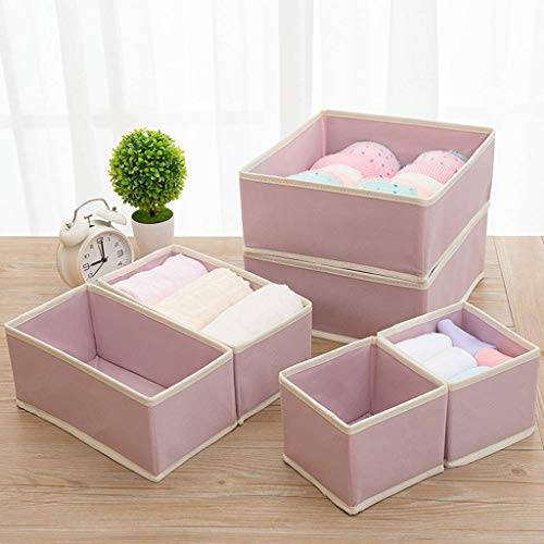 AYCPG Conjunto de 6 Caja de Almacenamiento - Organizadores de Uso múltiple Sistema de Almacenamiento Universal para Accesorios, pañales, Toallas, Utensilios y más lucar (Color : Pink)