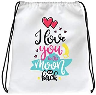 IMPRESS Drawstring Sports Backpack White with I Love You to the Moon and Back Design