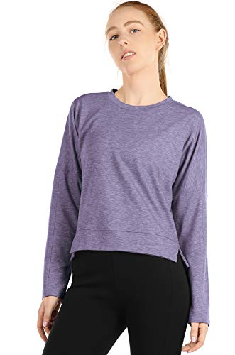 icyzone Workout Sweatshirts for Women - Women's Pullover Running Tops Long Sleeve Athletic Shirt (Lavender, S)