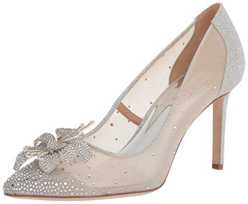 Badgley Mischka womens Gilda Pump, Silver Glitter, 11 US