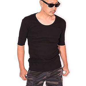 (アビレックス) AVIREX 5分袖 Tシャツ Uネック 無地 デイリーウエア 6143508 ブラック L