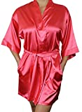 Women's Satin Kimono Bridesmaid Short Silky Robe with Pockets - Coral XS/S