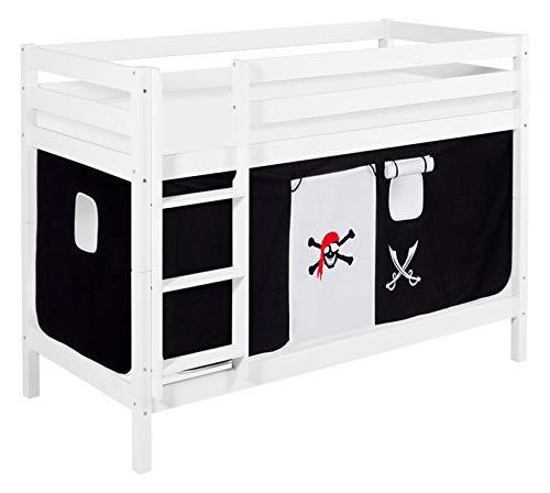 Lilokids Etagenbett JELLE Pirat Schwarz Weiß - Hochbett weiß - mit Vorhang und Lattenroste