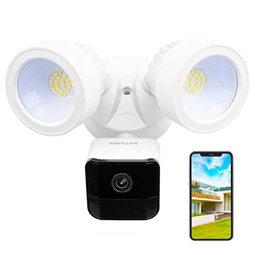 SoulLife Floodlight Camera, 1080P HD Outdoor Security Camera Motion-Activated Security Cam Two-Way Audio and Siren Alarm, 2200-Lumen Brightness, IP65 Waterproof, Compatible with Alexa