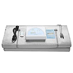 SEAAN 2 Zone Digital Far-Infrared (FIR) Oxford Sauna Blanket,Weight Loss Body Shaper Professional Detox Therapy Anti Ageing Beauty Machine (Silvery)