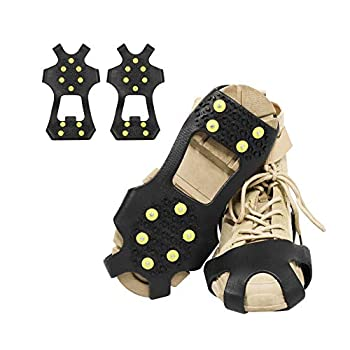 ValueHall Crampons Glace Traction 10 Clous à Neige Grips Crampons Glace Traction Crampons Antidérapants sur Chaussures/Bottes Neige V244B (L)