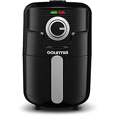 Gourmia GAF355 Compact Hot Air Fryer - Adjustable 30 Minute Timer and 400 Degree Temperature Dials - Removable Basket - No Oil Fat Free Healthy Frying - 2.2 Qt Capacity- 1000W- Black - Bonus Cookbook Included
