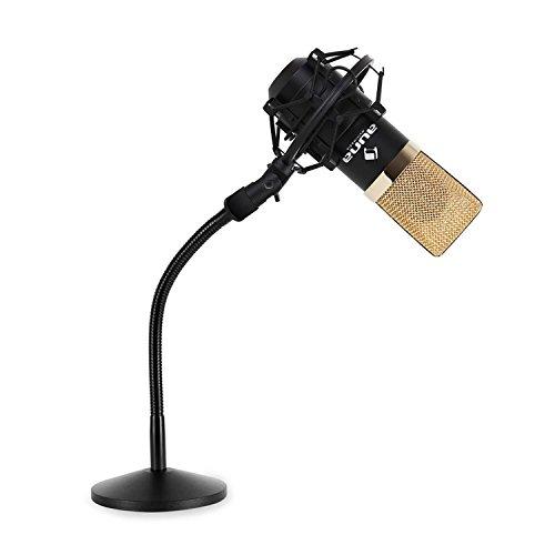 """auna MIC-900SBG - Tischmikrofon, USB Mikrofon mit Stativ, zum Anschluss am PC, Kondensatormikrofon, 16mm Kapsel, inkl. Mikrofonspinne, 16mm (5/8'') Gewinde, 3/8"""" zu 5/8""""-Adapter, gold-schwarz"""