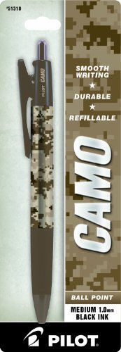 Pilot Camo Retractable Ball Point Pen, Desert Sand Camo, Medium Point, Black Ink, 1 Pen (51310)