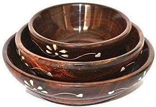 DECORVAIZ Serving Bowl, 3 Pieces,Wood, Floral, Brown