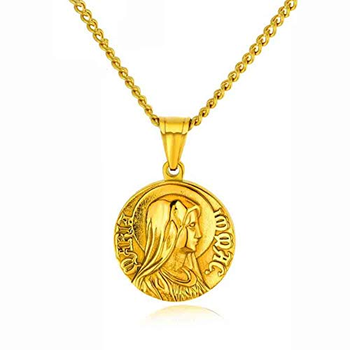 J.Memi.FA Collar Medalla Milagrosa Virgen María Marry Colgante de Hope inspiradora, Hombre Acero Inoxidable Católica Cristiana Joyería,Gold