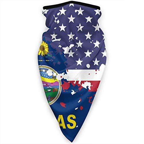 Mathillda USA Kansas State Flag gezichtsmasker hals gamassen bandana sjaal bivakmuts multifunctionele hoofddeksel KB7-B0B