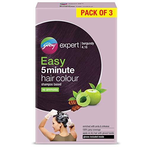 Godrej Expert Easy 5 Minute Shampoo Hair Colour Sachet - Burgundy, 50gm, (Pack of 3)