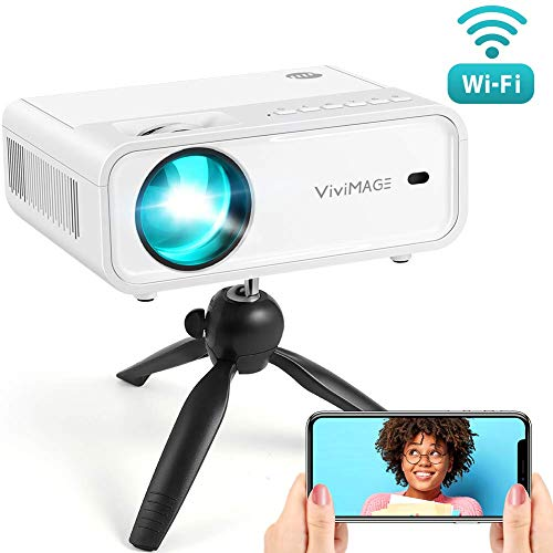VIVIMAGE Explore 2 Mini WiFi Projector 4200 Lux 1080P Supported Projector 40000 Hours Lamp Life with Synchronize Smartphone Screen Compatible with TV Stick HDMI TV Box PS4 Include Tripod