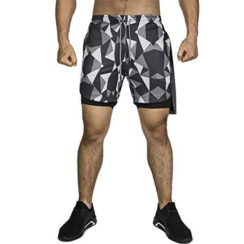 ZAYZ Shorts de Compresión para Hombre, Running Training 2 En 1 Pantalones Deportivos Joggers, Secado Rápido Ligero, Cómodo Moverse Libremente (Color : Black, Size : S)
