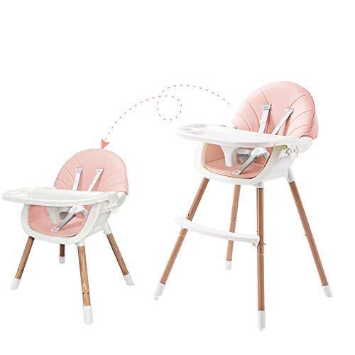 Sehrgo Baby Kinder Hochstuhl verstellbar Sitze für Kleinkinder mit 5 Punkt Sicherheitsgurt, Beine aus Holz, Sicherheitsgurte, Fußstütze, Doppeltablett ab 6 Monate bis 5 Jahre (Rosa)