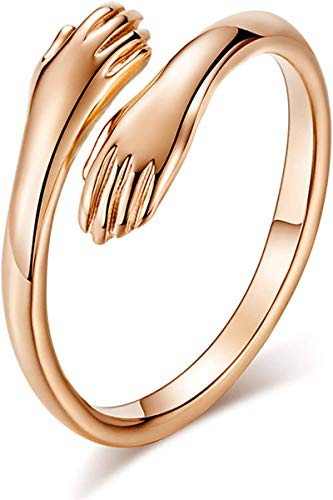 Love Hug Ring Open Ring, 925 Silver Heart Love Hug Hands One Size Adjustable Ring Jewelry for Women Men Couples Wedding Ring (Gold, 1)