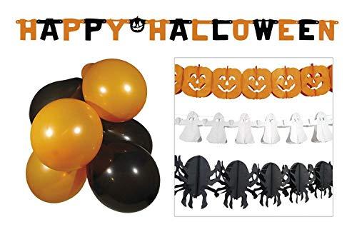 Boland 74588 Halloween Party Deco Set - 3 slingers + letterslinger + 10 ballonnen, oranje/wit/zwart