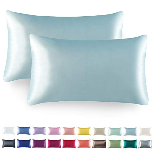 Tyfitb Satin Pillowcase for Hair and Skin, Baby Blue Pillowcases Set of 2, Cooling Pillow Cases Standard Size(20×26 Inches), Soft Luxury Satin Pillowcase with Envelope Closure