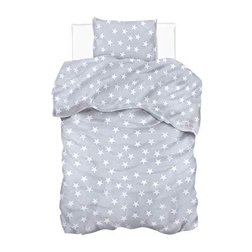 Aminata Kids - Bettwäsche 155x220 Baumwolle Sterne Stern-Motiv blau, weiß - blau weiß in Komfort-Größe mit Reißverschluss, Pastell Komfort-Größe Studentin