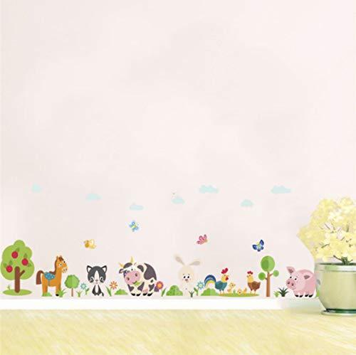 Bosque Caballo Conejo Árbol Vaca Mariposa Pegatinas De Pared Para Habitaciones De Niños Decoración Del Hogar Animales De Dibujos Animados Calcomanías De Pared Pvc Mural Art Poster