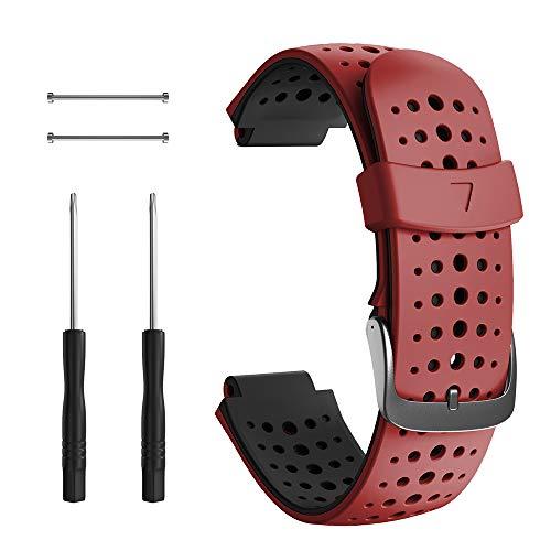 Correa para Garmin Forerunner 235, Correa de Reloj de Silicona Suave Compatible con Garmin Forerunner 235/220/230/620/630/735 XT (Negro+Rojo)