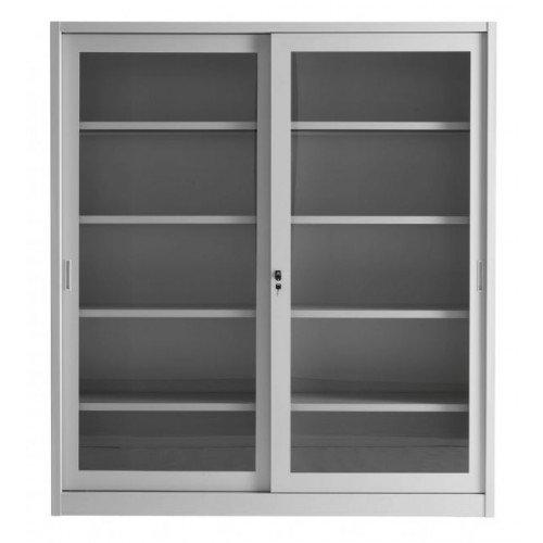 Armadio per Archiviazione ad Ante Scorrevoli IN VETRO cm. 180x45x200H Armadio in metallo Armadietto metallico 4 piani regolabili