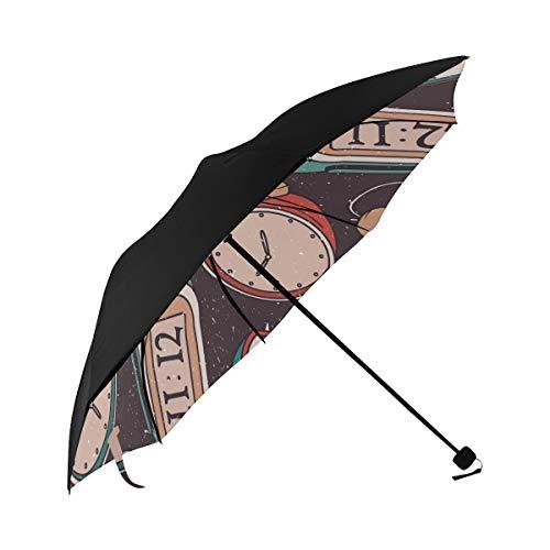 Alarm Clock Home Creative Design Color Compact Travel Umbrella Sun Parasol Anti Uv Foldable Umbrellas(underside Printing) As Best Present For Women Sun Uv Protection