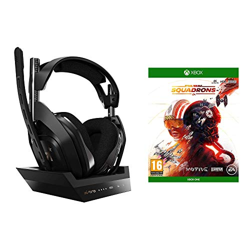 ASTRO Gaming A50 Auriculares inalámbricos Gaming y Base de Carga, 4ta Gen, Dolby Audio & Atmos, 2.4 GHz, 9m Alcance para Xbox Series X|S, Xbox One, PC, Mac + Star Wars: Squadrons, Xbox One,Negro/Oro