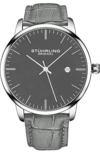 Stuhrling Original Mens Watch Calfskin Leather Strap - Dress + Casual Design - Analog Watch Dial with Date, 3997Z Watches for Men Collection (Grey Black)