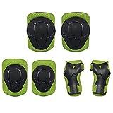DXIA Protecciones para Niños Set, Skate Patinaje Bicicleta Deportivas Patinaje Kit de 6 Piezas Set, Proteccion de Muneca Guardias Rodilleras y Coderas para Skate Esqui Escalada Ciclismo (Verde, S)