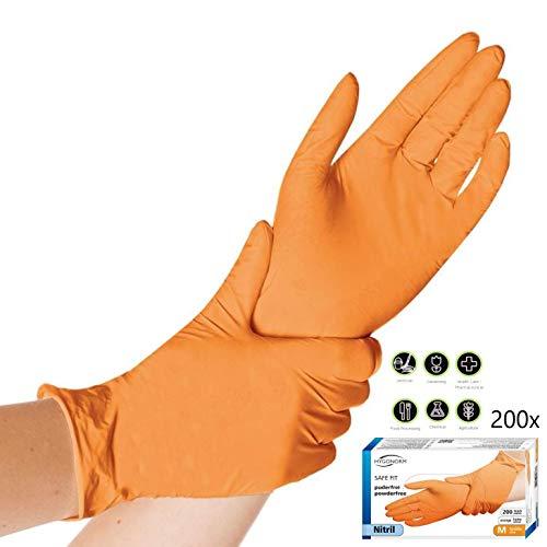 200x Guanti Monouso - Arancione Safe Fit Lavoro Leggero Guanti in nitrile S (6-7) Senza Polvere Senza Latex Grado Medico AQL 1,5 Pulizia Giardinaggio Tatuaggio Pittura