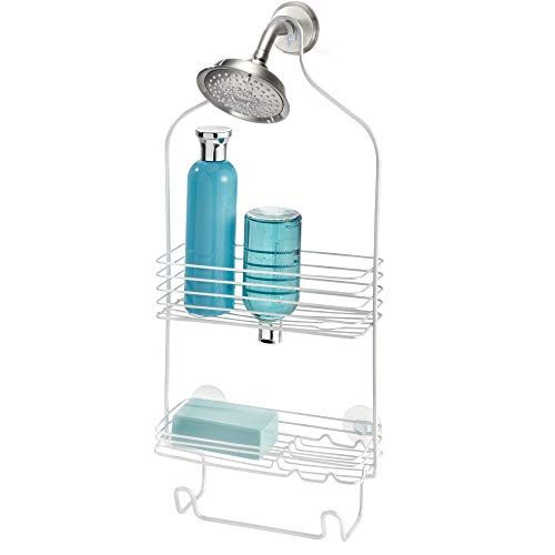 iDesign Classico Shower Metal Rust Resistant Hanging Shower Caddy with Towel Hanger and Two Hooks-for Shampoo, Conditioner, Razors, Towels and more-9.5' x 3.75' x 21', Pearl White