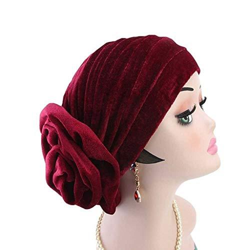SHYPT Mujeres Grandes Granos de Flor Hijab Gorra Oro Terciopelo Elegante Indio Turbante Gorra Jersey quimio Sombrero señoras Cabeza Bufanda Cubierta (Color : B)
